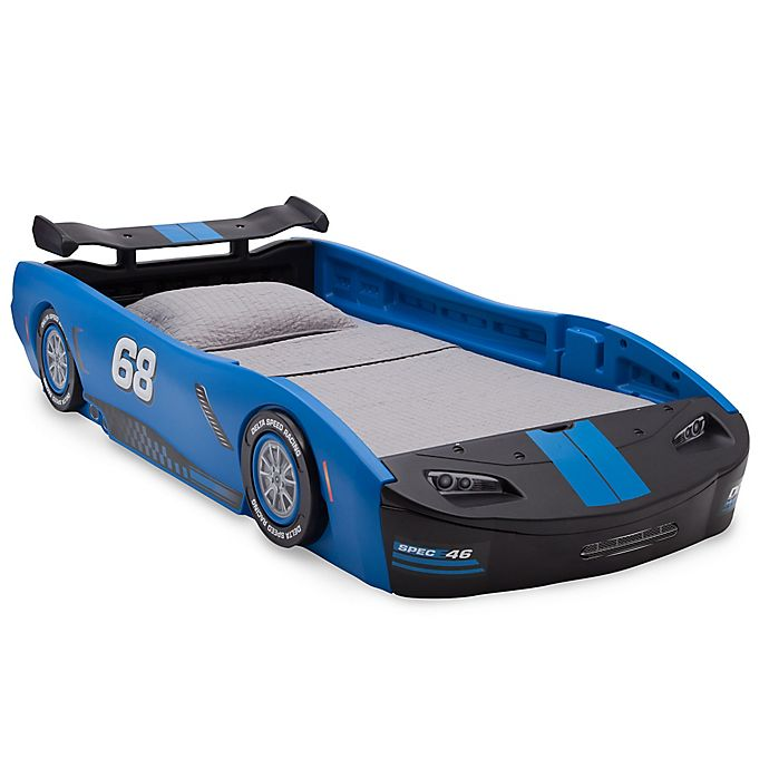Alternate image 1 for Delta Children Turbo Race Car Twin Bed in Blue