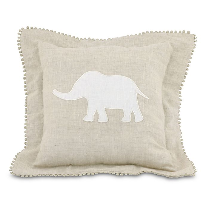 Alternate image 1 for Just Born® Keepsake Elephant Throw Pillow in Flax