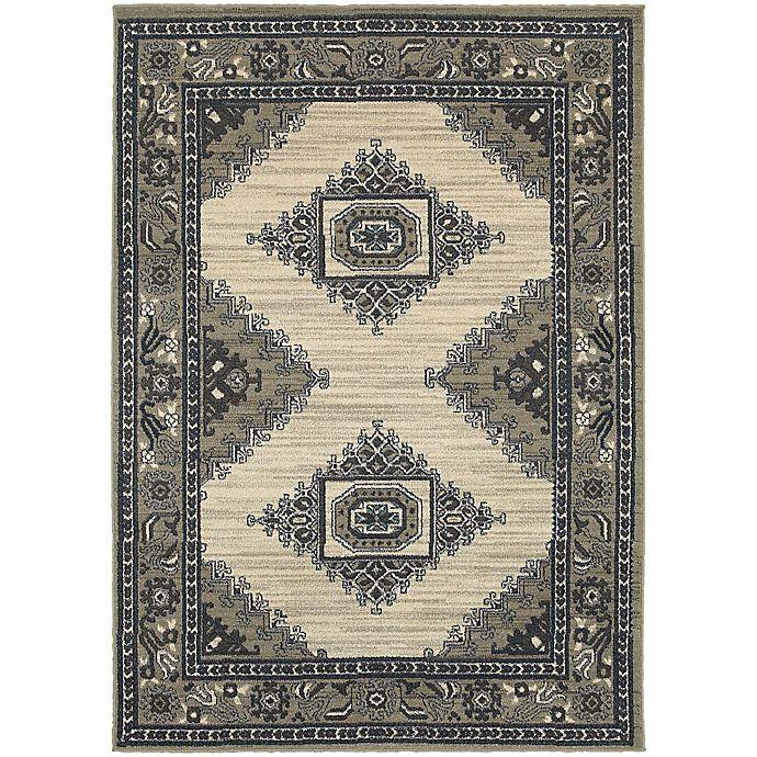 Alternate image 1 for Oriental Weavers Highlands Bordered Floral 3-Foot 10-Inch x 5-Foot 5-Inch Scatter Rug in Beige