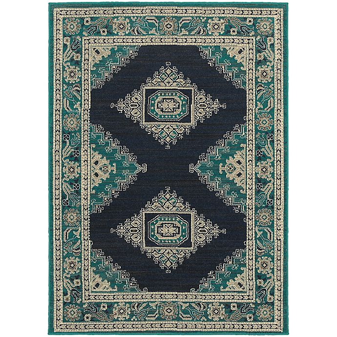 Alternate image 1 for Oriental Weavers Highlands Bordered Floral 3-Foot 10-Inch x 5-Foot 5-Inch Scatter Rug in Blue