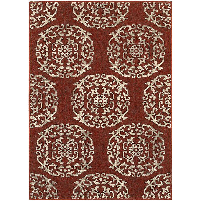 Alternate image 1 for Oriental Weavers Highlands Floral Tile 3-Foot 10-Inch x 5-Foot 5-Inch Scatter Rug in Red