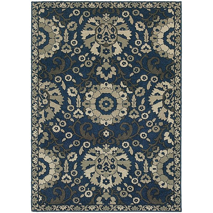 Alternate image 1 for Oriental Weavers Highlands Floral 3-Foot 10-Inch x 5-Foot 5-Inch Scatter Rug in Midnight
