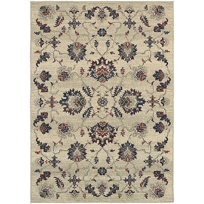 Alternate image 1 for Oriental Weavers Highlands Floral 3-Foot 10-Inch x 5-Foot 5-Inch Scatter Rug in Beige