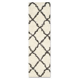 Safavieh Dallas 2-Foot 3-Inch x 8-Foot Shag Runner in Ivory/Dark Grey