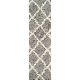 Safavieh Dallas 2-Foot 3-Inch x 12-Foot Shag Runner in Grey/Ivory