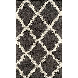 Safavieh Dallas 3-Foot x 5-Foot Shag Area Rug in Dark Grey/Ivory