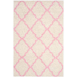 Safavieh Dallas 6-Foot x 9-Foot Shag Area Rug in Ivory/Light Pink