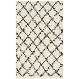 Safavieh Dallas 3-Foot x 5-Foot Shag Area Rug in Ivory/Dark Grey