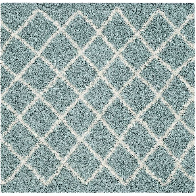 Alternate image 1 for Safavieh Dallas 6-Foot Square Shag Area Rug in Seafoam/Ivory