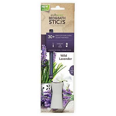 EnviroScent Wild Lavender Bed & Bath Sticks with Ceramic Holder