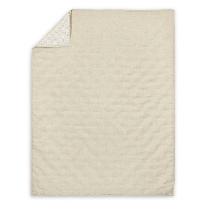 Alternate image 1 for Just Born® Keepsake Washed Linen Quilt in Flax