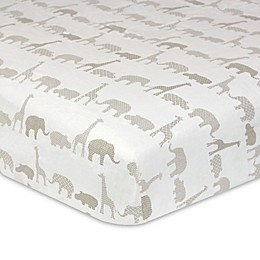 Just Born® Keepsake Washed Linen Animal Treasure Crib Sheet in Ivory