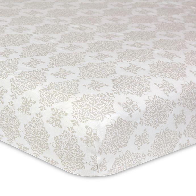 Alternate image 1 for Just Born® Keepsake Washed Linen Manor Court Neuveau Crib Sheet in Ivory