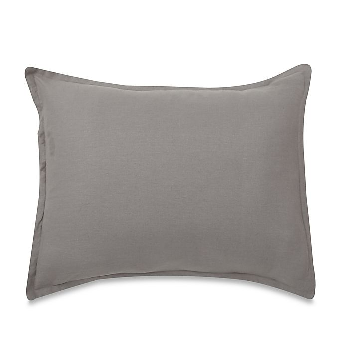 Alternate image 1 for LinenWeave Vintage Washed King Pillow Sham in Grey
