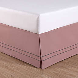 LinenWeave Hemstitch Queen Bed Skirt in Blush