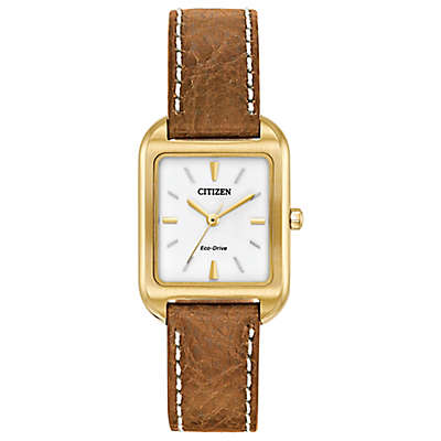 Citizen Eco-Drive Ladies' 32mm x 23mm Chandler Watch in Goldtone Stainless Steel with Leather Strap