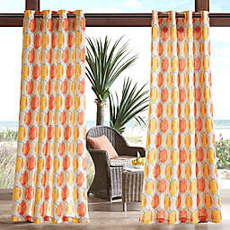 Madison Park Gaviota Printed Circles 3M Scotchgard Grommet Top Outdoor Curtain Panel
