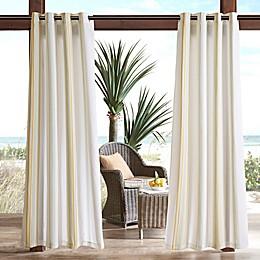 Madison Park Sandbar Printed Stripe 3M Scotchgard Grommet Top Outdoor Curtain Panel