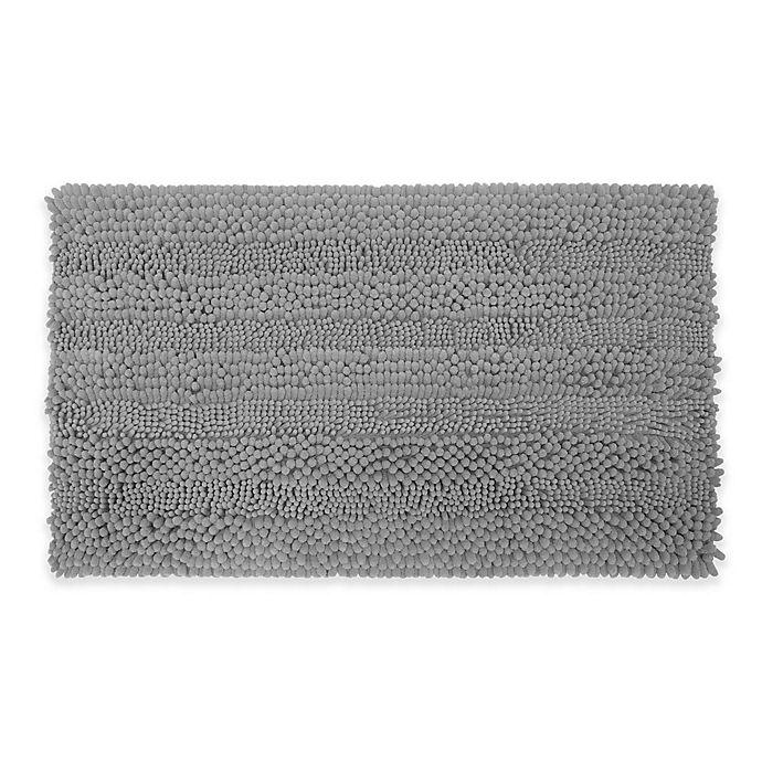 Alternate image 1 for Laura Ashley Astor Striped 20-Inch x 34-Inch Bath Rug in Light Grey