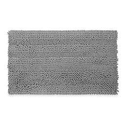Laura Ashley Astor Striped 17-Inch x 24-Inch Bath Rug in Light Grey