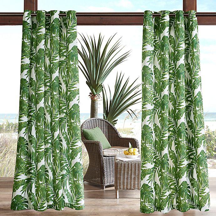 Alternate image 1 for Madison Park Everett Printed Palm 3M Scotchgard Grommet Top Outdoor Curtain Panel