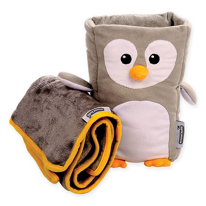 2 Piece Penguin Armrest Buddy Pillow And Blanket Set In