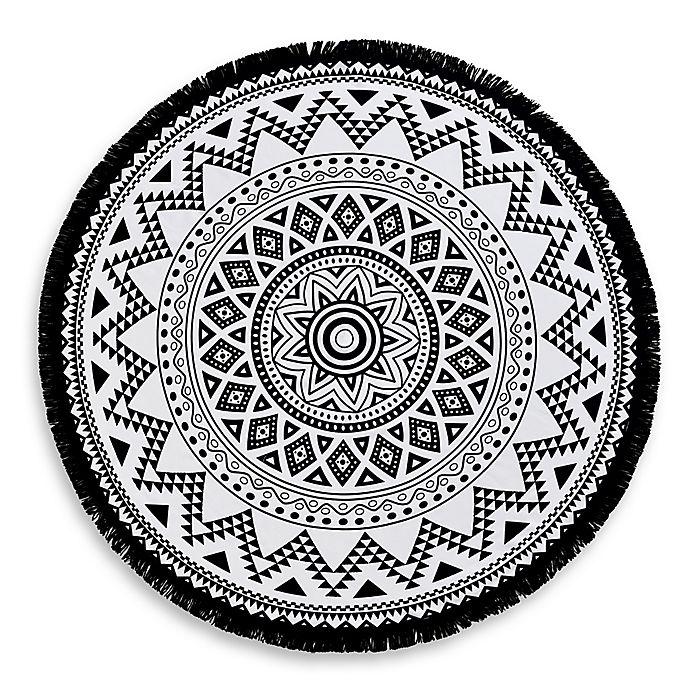 Alternate image 1 for Linum Home Textiles Kilim Pestemal Beach Towel in Black/White