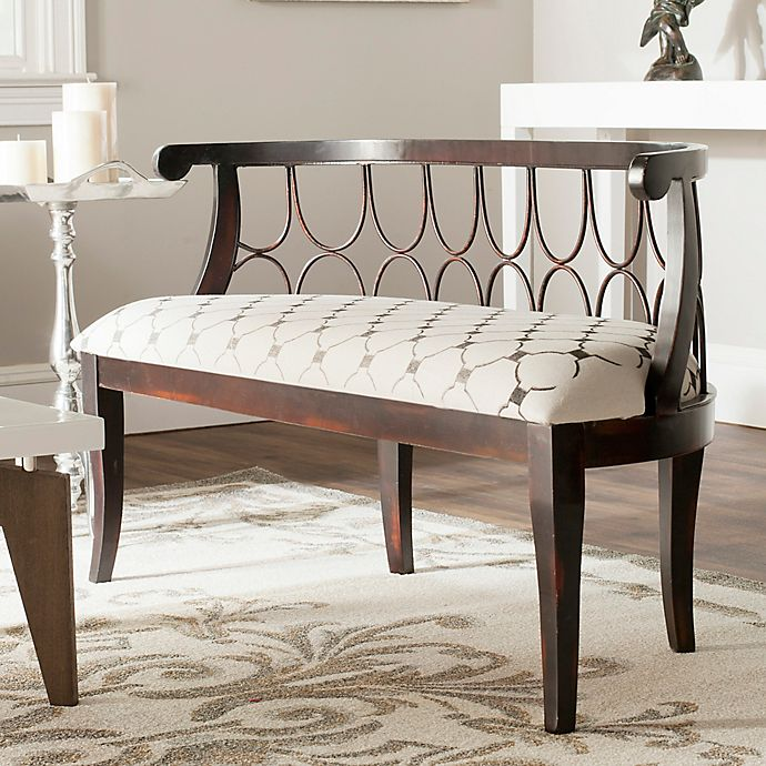 Upholstered Bench Beige: Buy Safavieh Norma Geometric Upholstered Bench In Beige