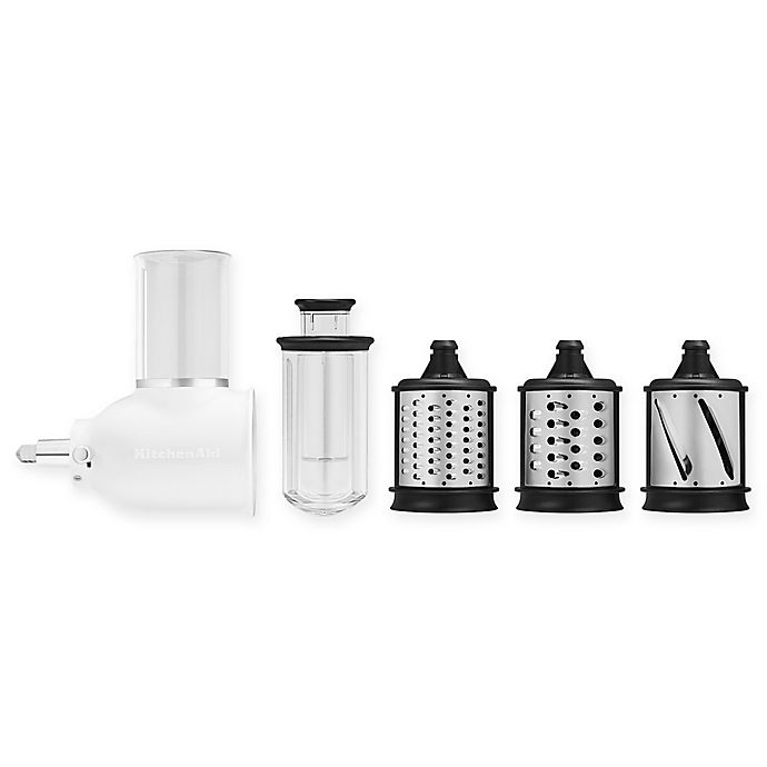 Alternate image 1 for KitchenAid® 5-Piece Fresh Prep Slicer/Shredder Attachment Set in White