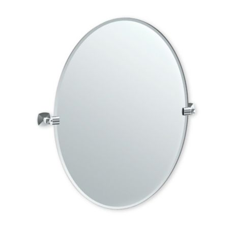 x 28 in Frameless Rectangle Mirror in Chrome Polished Wall Mount Jewel 32 in