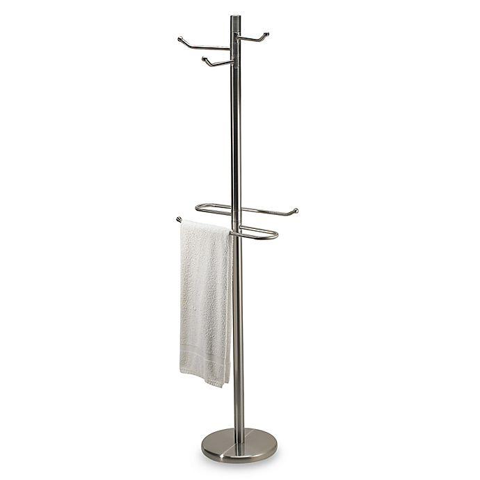Swiveling Free Standing Towel And Bathrobe Valet In Satin Nickel