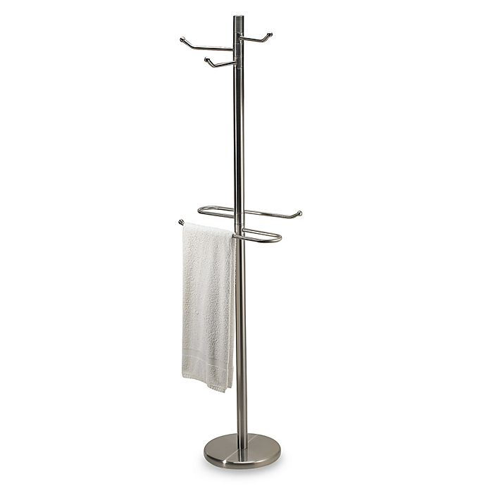Alternate image 1 for Swiveling Free Standing Towel and Bathrobe Valet in Satin Nickel