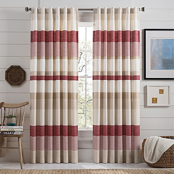 Alternate image 1 for Lakeside Stripe 63-Inch Rod Pocket Window Curtain Panel in Red