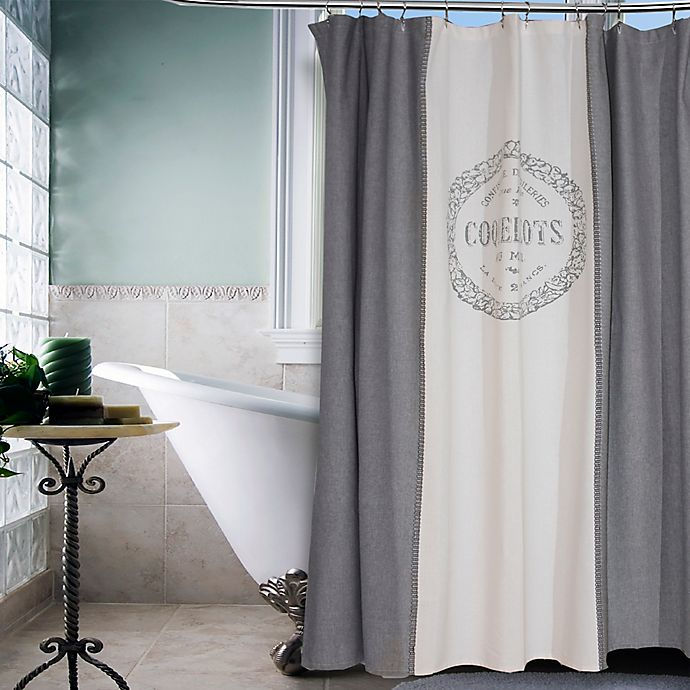 vintage house coquelicots shower curtain in grey  bed
