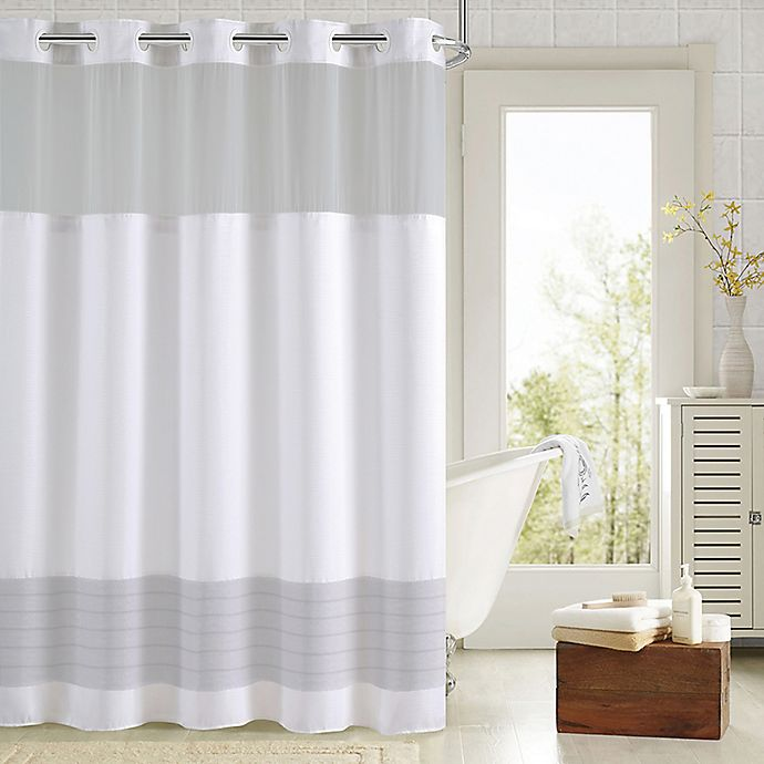 Hookless Aruba Pleats Color Block Shower Curtain Bed Bath And
