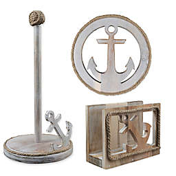 Thirstystone® Anchor Acacia Wood Paper Towel Holder, Trivet and Napkin Holder in Silver