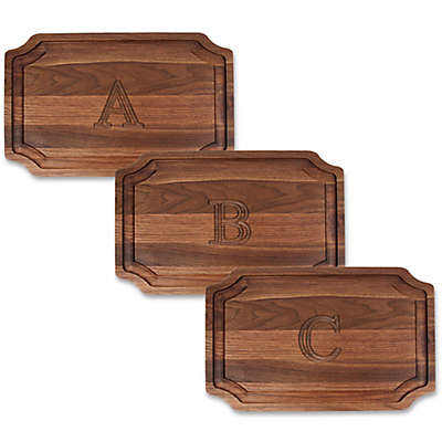Cutting Board Company 15-Inch x 24-Inch Scalloped Wood Block Letter Monogram Carving Board in Walnut