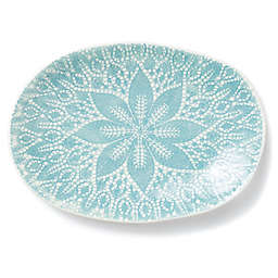 viva by VIETRI Lace Large Oval Platter in Aqua