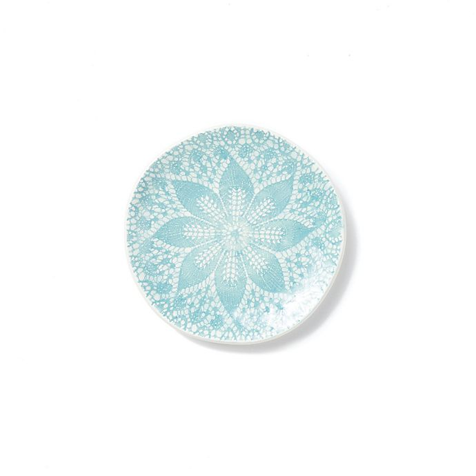 Alternate image 1 for viva by VIETRI Lace Cocktail Plates in Aqua (Set of 4)