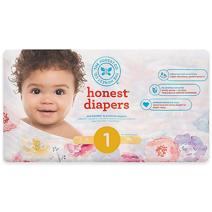 Alternate image 1 for Honest 44-Pack Size 1 Diapers in Rose Blossom Pattern