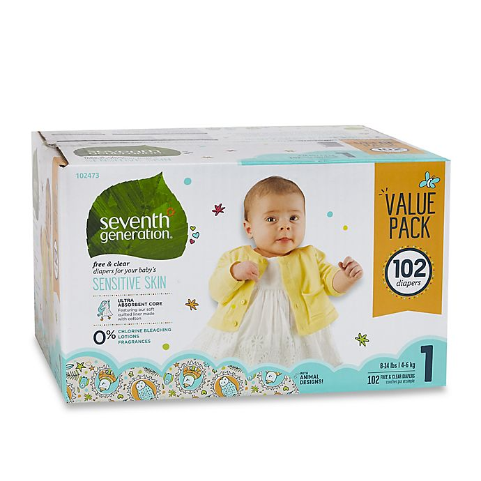 Alternate image 1 for Seventh Generation™ 102-Count Size 1 Free & Clear Diapers