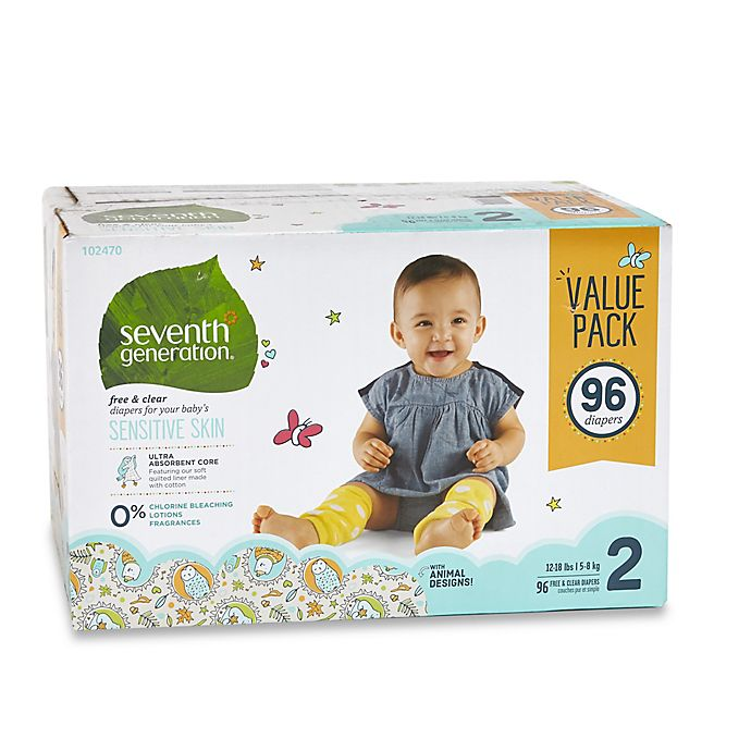 Alternate image 1 for Seventh Generation™ 96-Count Size 2 Free & Clear Diapers