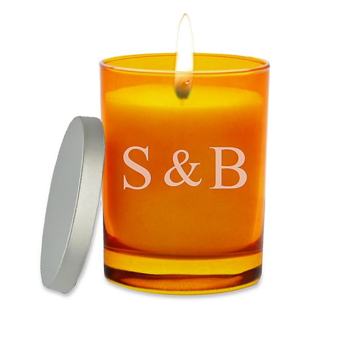 Alternate image 1 for Carved Solutions Gem Collection Unscented Ampersand Initals Topaz Soy Wax Glass Candle