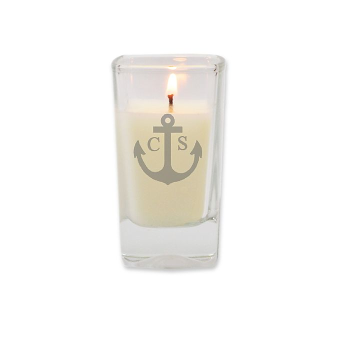 Alternate image 1 for Carved Solutions Eco-Luxury Unscented Anchor Monogram Soy Wax Glass Votive Candle