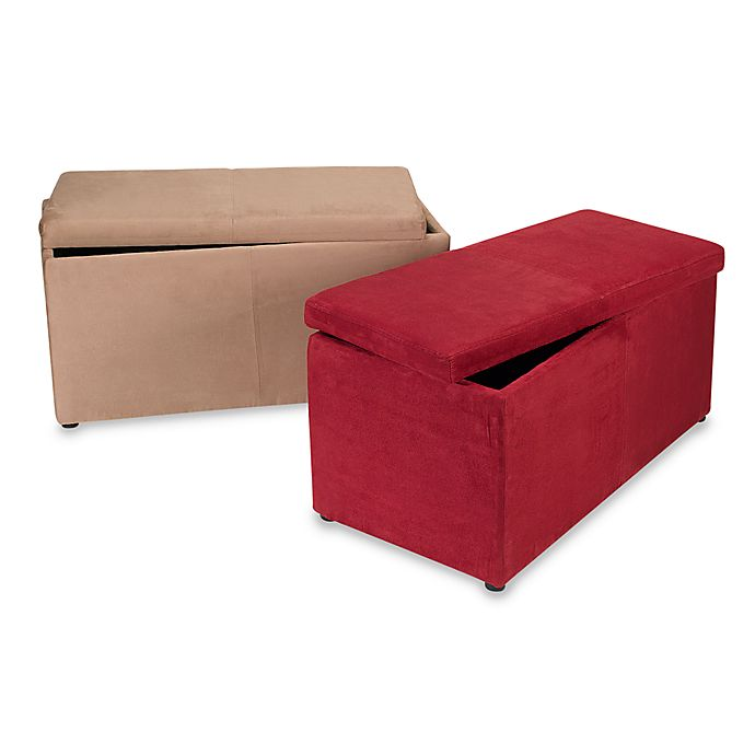 Brilliant Faux Suede Ottoman Storage Bench Bed Bath Beyond Dailytribune Chair Design For Home Dailytribuneorg