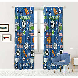 Kidz Mix Game Day Sports 84-Inch Window Curtain Panel Pair in Blue