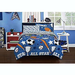 Kidz Mix Game Day Sports 5-Piece Reversible Twin Comforter Set in Blue