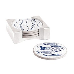 Cypress Home Crackle Fish Coasters with Caddy in Blue (Set of 4)