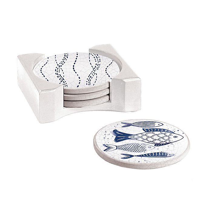 Alternate image 1 for Cypress Home Crackle Fish Coasters with Caddy in Blue (Set of 4)
