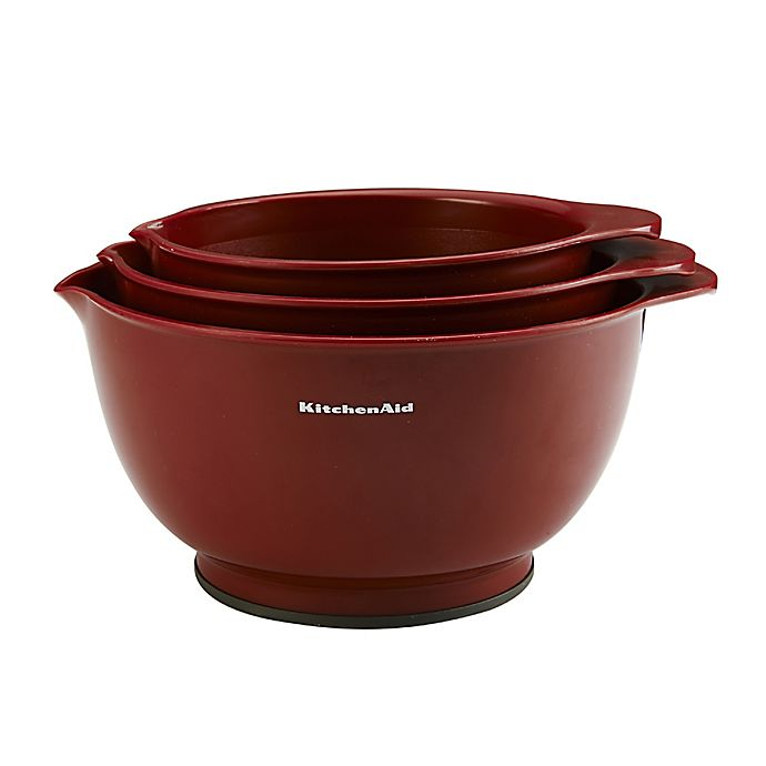 Alternate image 1 for KitchenAid® 3-Piece Classic Mixing Bowl Set in Red